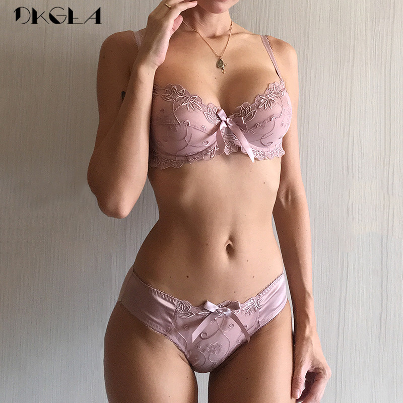 New Fashion Embroidery Lingerie   Set   Women   Bras   C D Cup Plus Size Underwear   Set   Sexy Black Transparent   Bra   and Panties   Sets   Lace