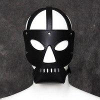 Leopard Print Fetish Mask Muzzles Utimi Hollow Sexual Leather Headgear Hood Slave Mask Full Head Harness
