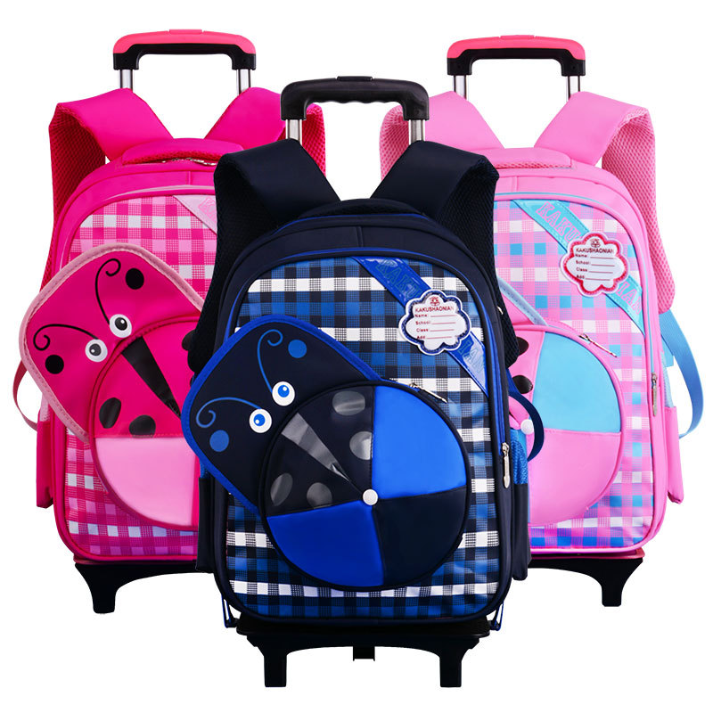 Фотография  caps Wheeled school bags High quality waterproof nylon school backpack Children travel trolley bag mochila escolar