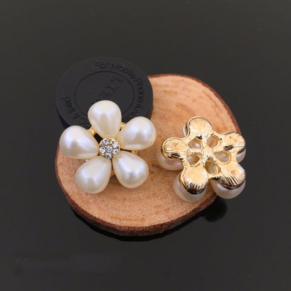 Flat Back Gold Metal Imitated Pearl Crystal Button Handmade Jewelry Findings Components DIY Jewelry Making Wedding Accessories