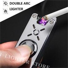 Hand Spinner USB Rechargeable Double ARC Lighter Flameless Cigarette Electronic Lighter No Gas Cigar Lighter Finger Toy For Men