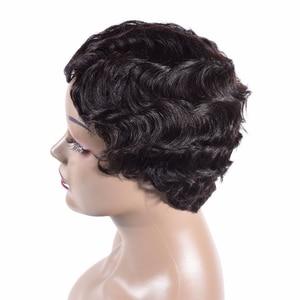 Image 3 - Short Finger Wave Wigs Short Bob Wigs For Woman Short Pixie Cut Wig Brazilian Remy Short Human Hair Wigs Mix Color 1B 2# TIANTAI