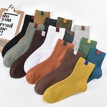 1 Pair Men s Cotton Middle tube Socks Vintage Ethnic Style Cloth Label Solid Color Short