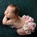 Cetim de Seda Floral Bow Baby Girl Tecido Coberto Tutu Babados Calcinha Infantil Culottes Calções Bouffantes bebe Recém-nascidos Foto Prop