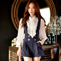 Original 2016 Brand Autumn Overalls Short Plus Size Slim Fashion Waist Elegant Vertical Striped Women Jumpsuit Wholesale