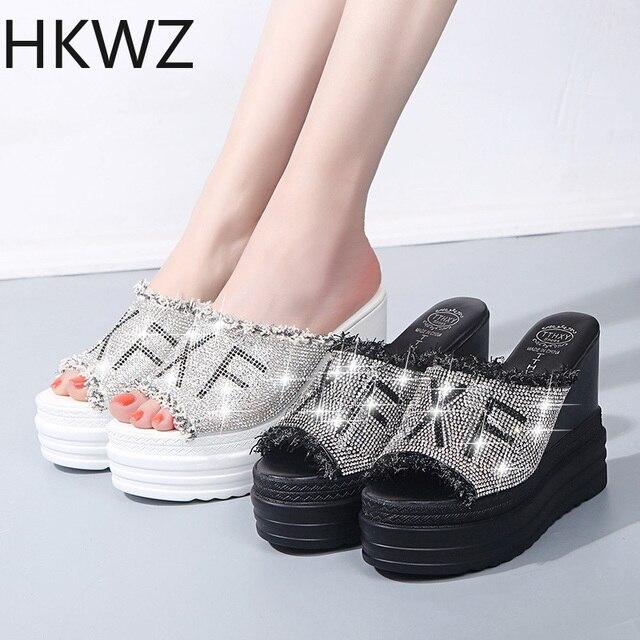 2019 new summer wear 11.5CM increase thick platform wild ladies sandals rhinestone slip sexy high-heeled banquet wedding sandals