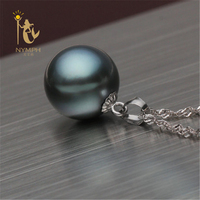 10 11mm NYMPH Black Tahitian Pearl Pendant Necklaces Fine Jewelry 18K White Gold High Quality D01