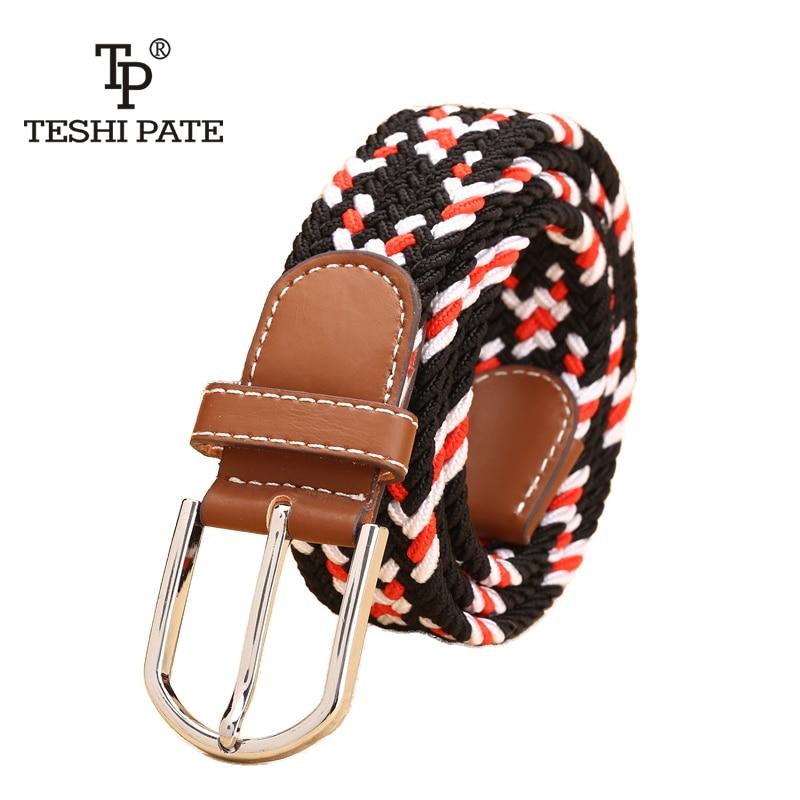 Unisex   Belt   Knitted Woven PU Leather Pin Bucket Elastic Color   Belt   Plain Webbing   Belt   Metal Buckle   belts   for women elastic TP