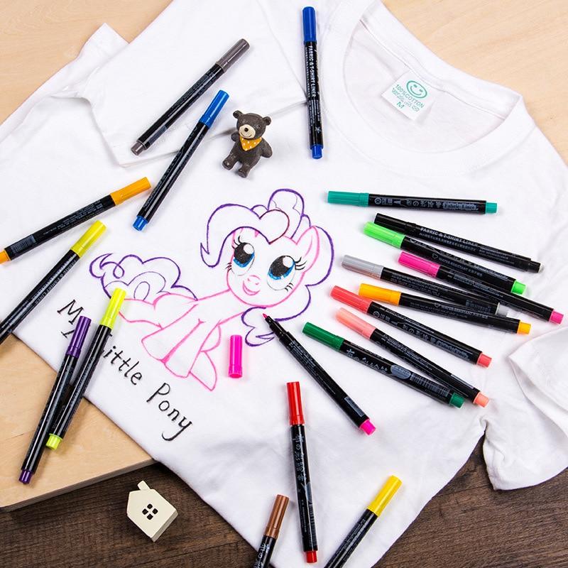 20 Colors Permanent Art Marker for Fabric T-shirt Liner Textile Ink Cloth Paint Color DIY Design for Artist