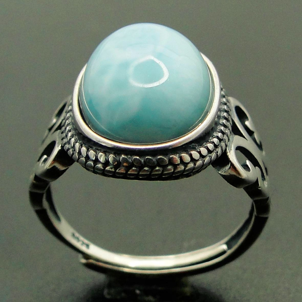 Genuine 100% Natural Larimar Stone 10*13MM Bohemian Woman Rings Oval Shaped 925 Sterling Silver Rings for her big stone larimar rings woman ladies engagement rings with natural larimar gemstone 925 sterling silver jewelry gift for her