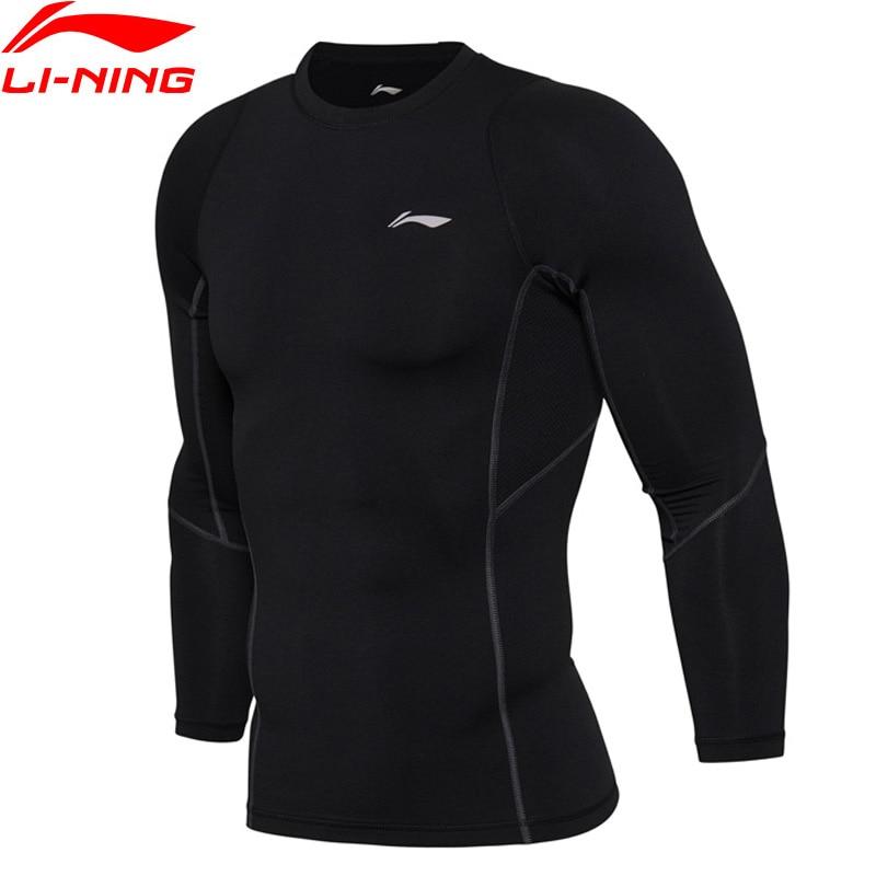 Li-Ning Men Training Series T-Shirt Long Sleeve Tight Fit Breathable Comfort LiNing Sports Tee Tops AUDM097 MTL977 long sleeve plush lining button down shirt