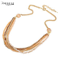 Double Layer Bead Alloy Necklace Sweater Chain Fashion Women Designer Handmade Decoration Statement Necklace Bijoux Gifts