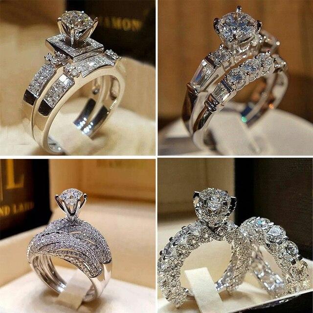 Boho Feminino Cristal Branco Rodada Conjunto Anel Marca de Luxo Anéis de Promessa Anel De Noivado De Prata Nupcial Do Casamento Do Vintage para As Mulheres