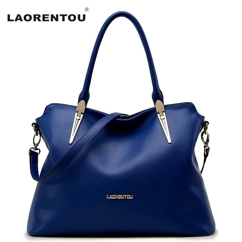 LAORENTOU Cowhide Leather Shoulder Bag Ladies Leather Luxury Handbags Women Bags Designer Ladies Shoulder Bag Casual