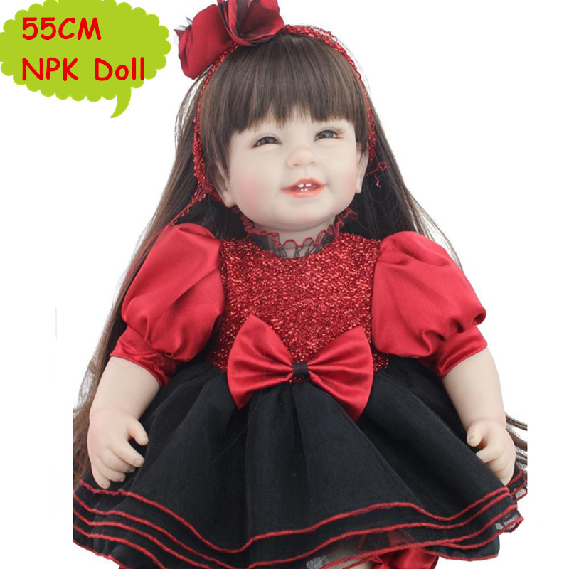 NPK 55CM Lovely Silicone Reborn Toddler Doll Long Hair Sweet Baby Girl Doll In Fashion Black