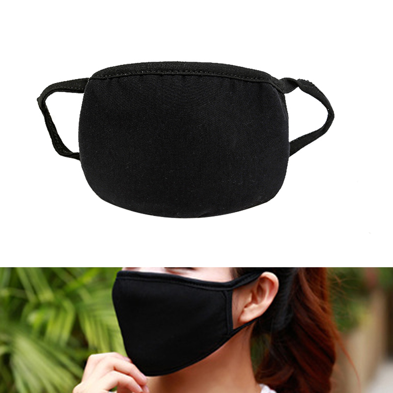 Black Face Mask Cotton Mouth Mask Anti Haze Dust Masks Filter Windproof Mouth-muffle Bacteria Flu Fabric Cloth Respirator S3 Strong Packing Men's Accessories