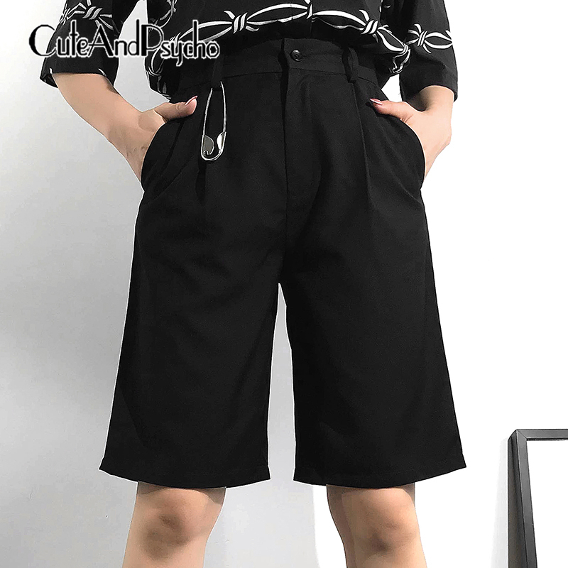 2019 High Waist Short   Pants   Women Korean Harajuku Trousers Black Casual Knee Length   Pants     Capris   Streetwear Summer cuteandpsycho