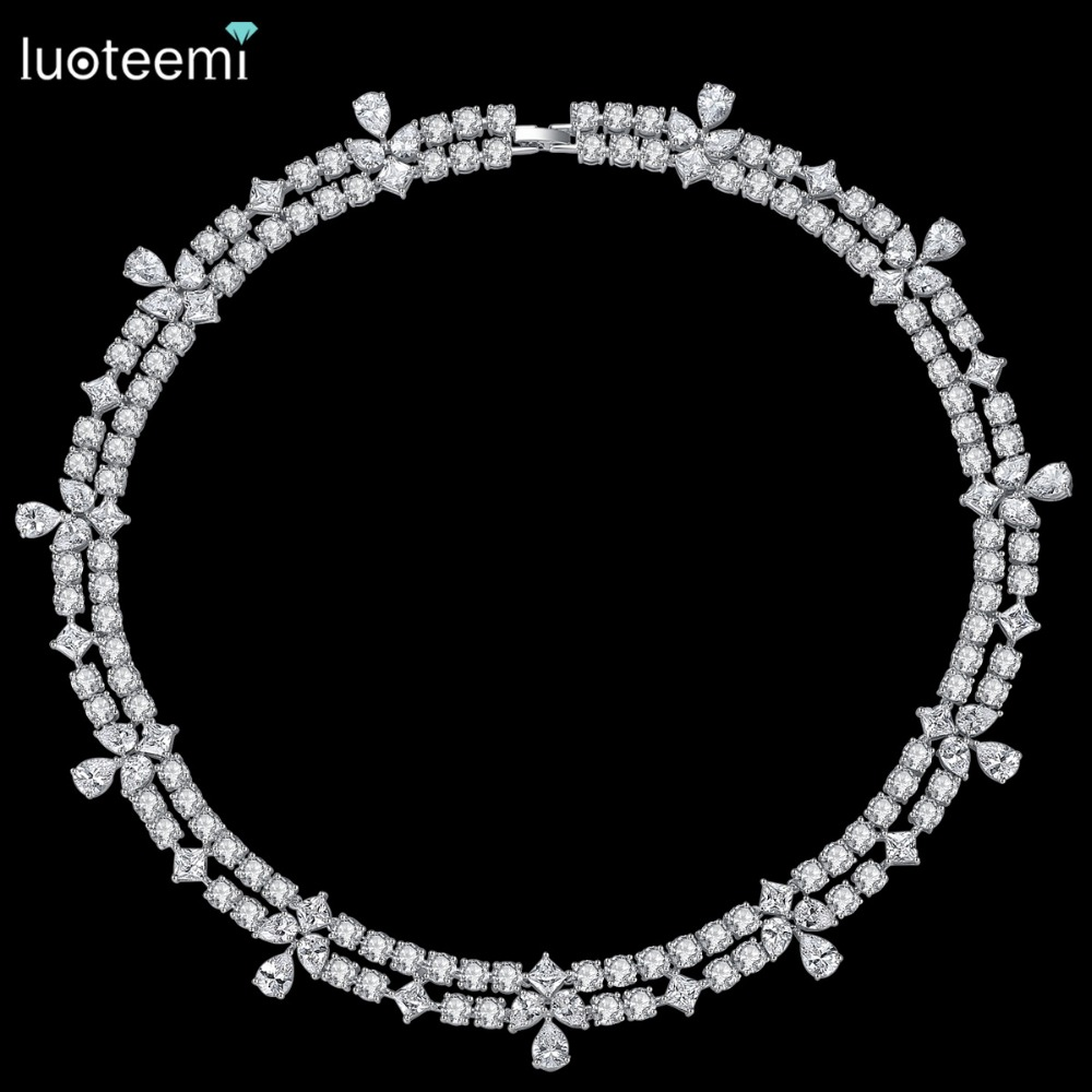 LUOTEEMI Top Quality Waterdrop Clear Cubic Zirconia Bridal Choker Necklaces White Gold Color For Women Wedding Bridal Jewelry