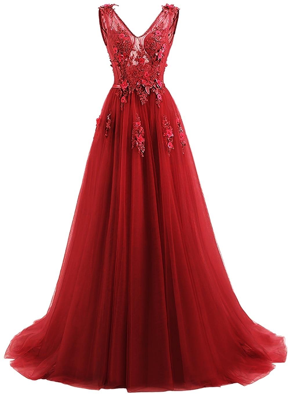Elie Saab bleu robes De soirée 2019 grande taille Tulle Appliques longues robes formelles robes col en V à lacets sans manches Robe De soirée - 6