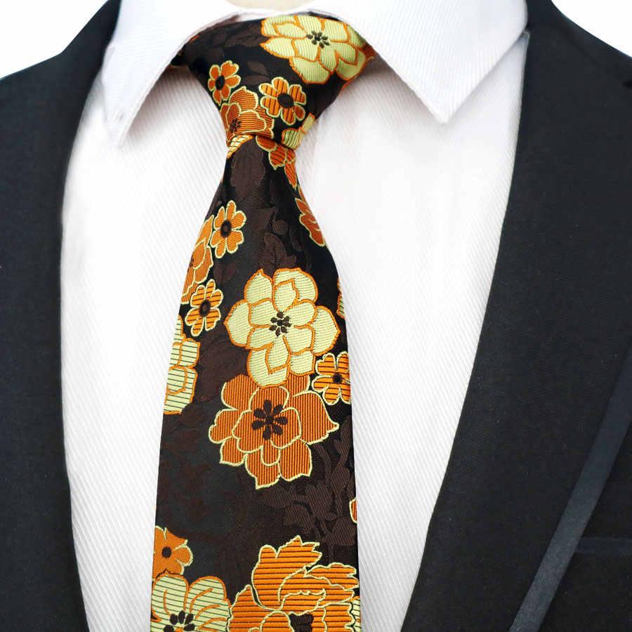 c774b2b5f2e7 DOOBU Classic Silk Man Ties Gold Orange Flowers BIG Jacquard Woven Neck Tie  Men Holiday Wedding
