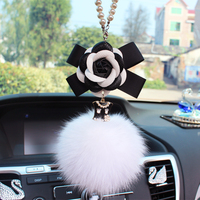 Automotive pendant car accessories lady high end car accessories car rearview mirror creative pendant fox fur