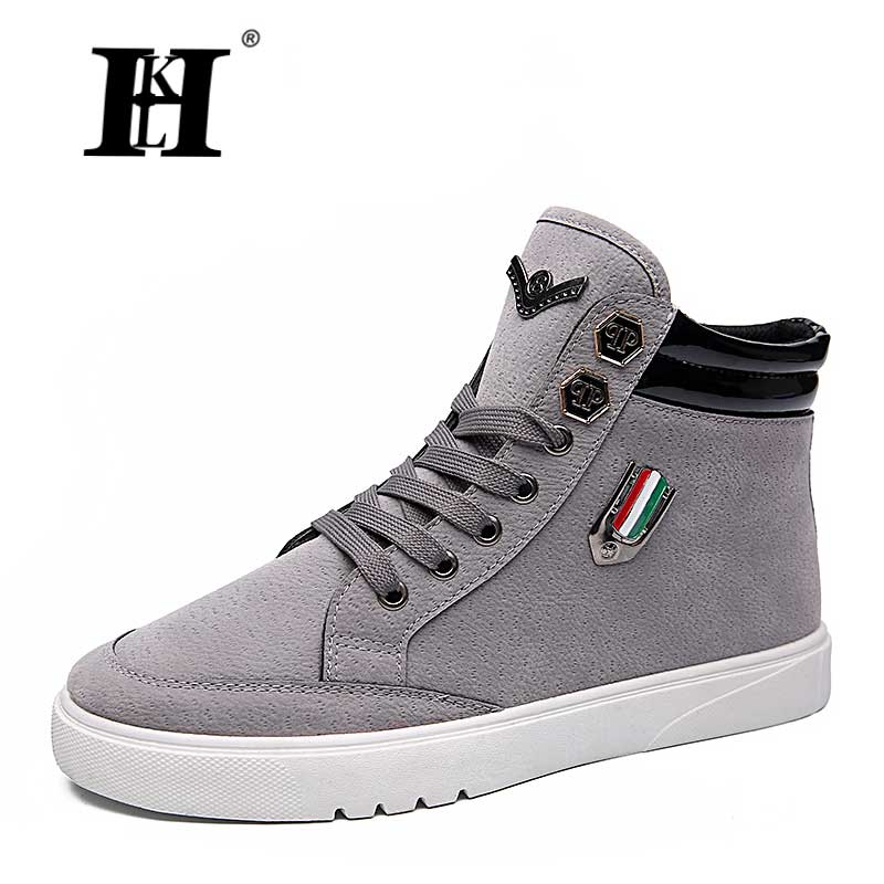 ФОТО HKL Free Shipping Men Canvas Shoes High Tops Men Shoes Men's Casual Shoes Breathable Canvas Lace Up Fashion Autumn Men Boots