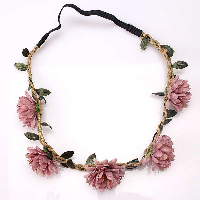 M MISM Women Wedding Flower Headband Girls Boho Flowers Headwear Children Headbands Hair Accessories Bride Wreath Beach Garland(China)