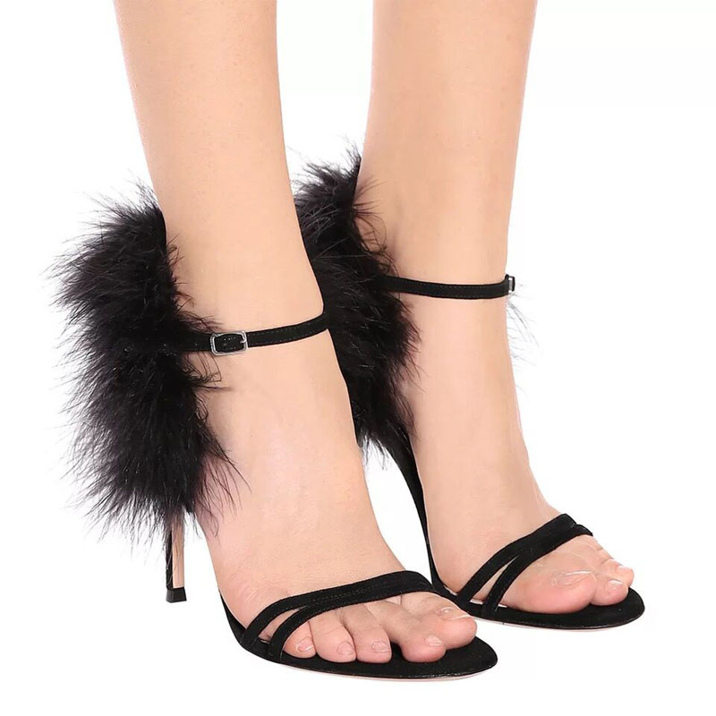 Strappy Sandals Designer Dress-Shoes High-Heel Black Fashion Summer Women Fur-Trim Posh