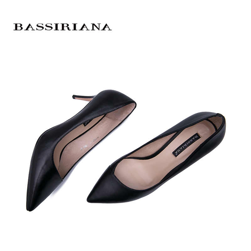 BASSIRIANA 2019 New High-heeled Shoes Woman Pumps Shoes Natural Leather Women Shoes Classic Black High Heels
