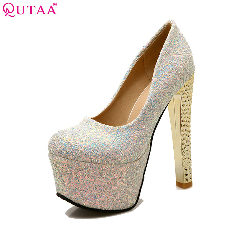 QUTAA 2018 Blue Platform Square High Heel Ladies Summer Shoes PU leather Woman Pump Sequin Ladies Wedding Shoe Size 34-43 стоимость