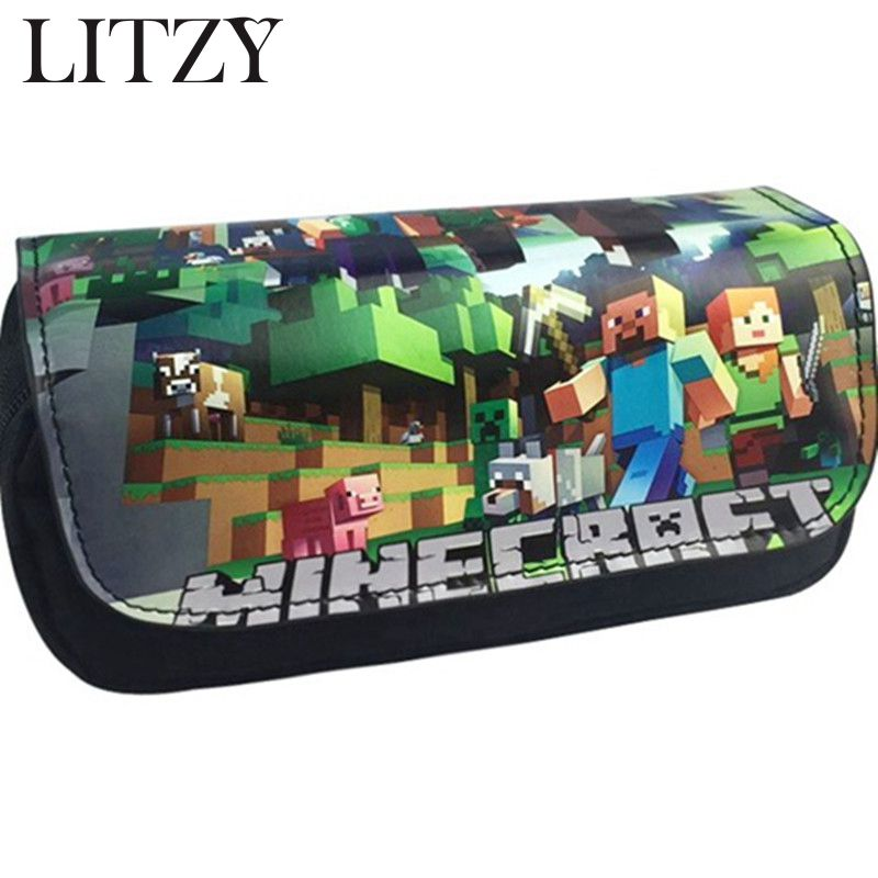 School Pencil Case Kawaii Minecraft Pencil Case For Boys Kids Big Capacity Pencil Bag School Supplies Pencil Box Bts Stationery new leather pencil case bag for school boys girls vintage pencil case box stationery products supplies as gift for student