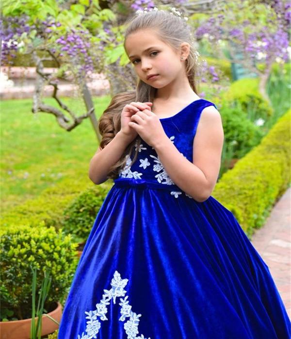 JaneVini Vintage bleu Royal filles robes 2018 blanc Applique velours longue princesse enfants fleur fille robes pour les mariages vacances - 6