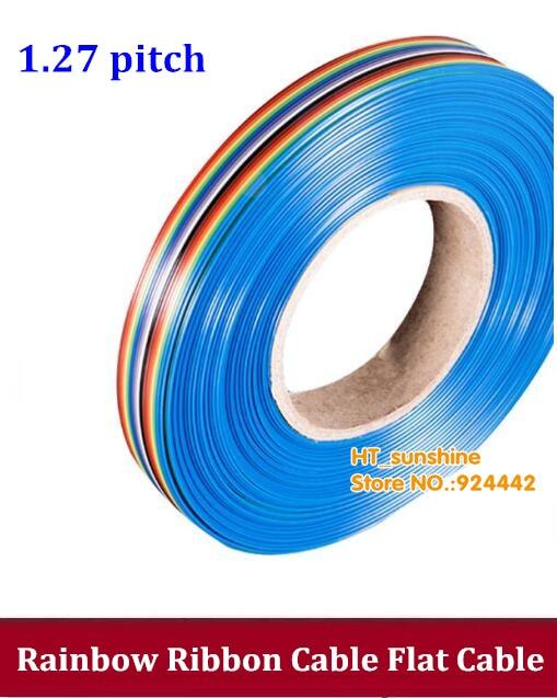 DEBROGLIE-- Rainbow Ribbon Cable 10P 40P 14P 44P 16P 50P 20P 60P 26P 64P 34P Flat Cable Color Wire Rainbow Cable 1.27MM Pitch 10pcs dc3 6p 8p 10p 14p 16p 20p 26p 30p 34p 40p 50p 2 54mm socket header connector isp male double spaced straight idc jtag
