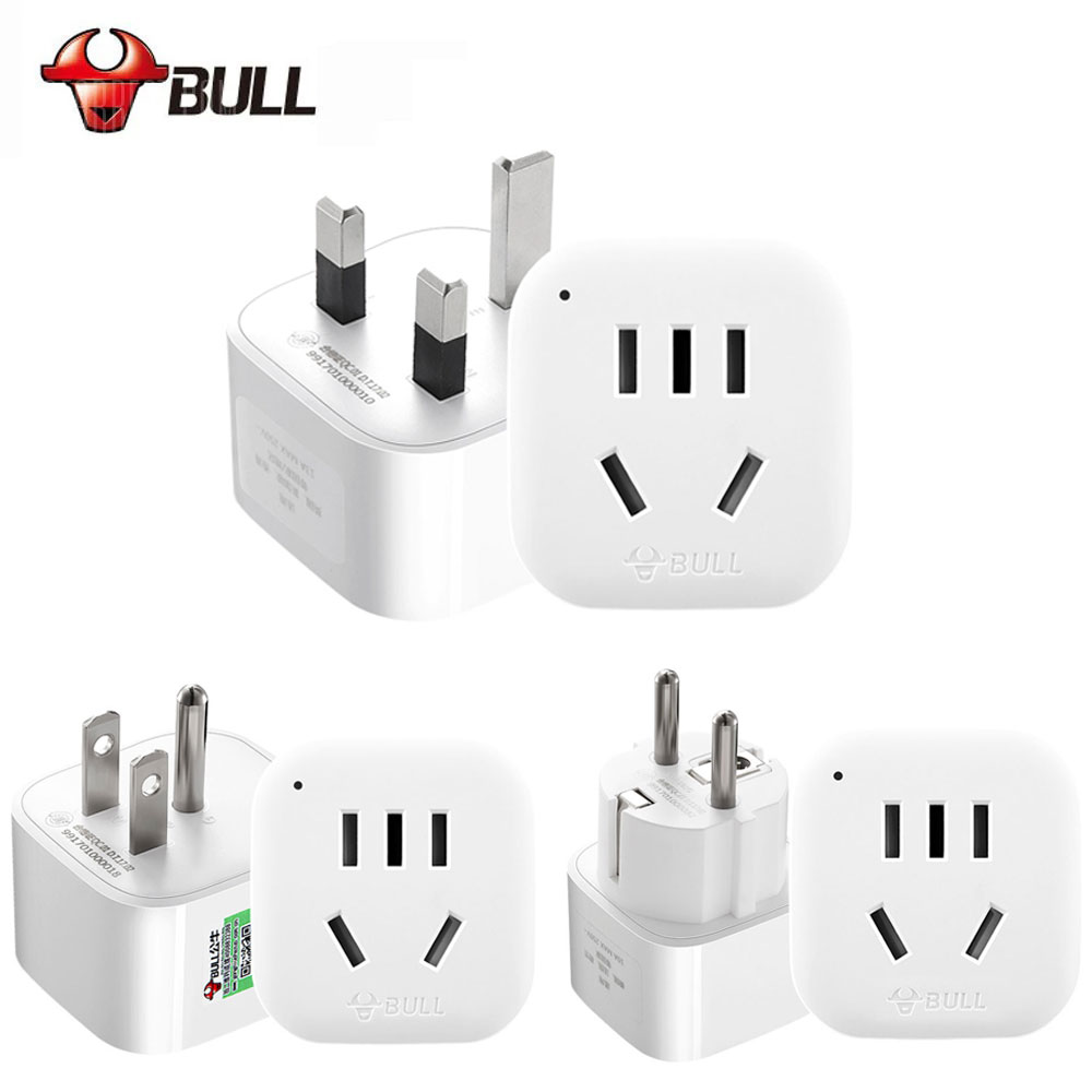 BULL GN901X White Universal Electrical Plug Adapter Travel Power Socket Converter Outlet CN Standard Use For US/ UK/ EU/ AU ...
