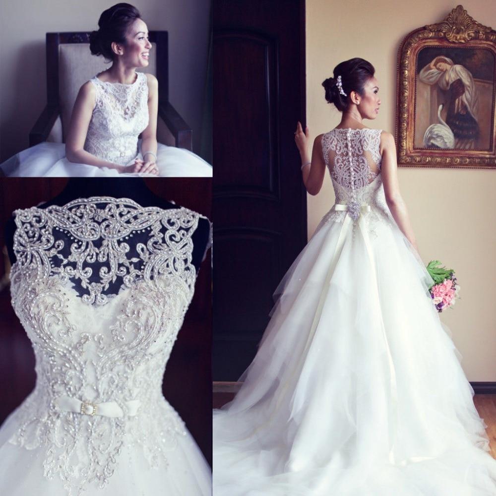 Real Photo Balón vestido de Cuello Barco Vestido de Novia 2017 vestidos de noiva