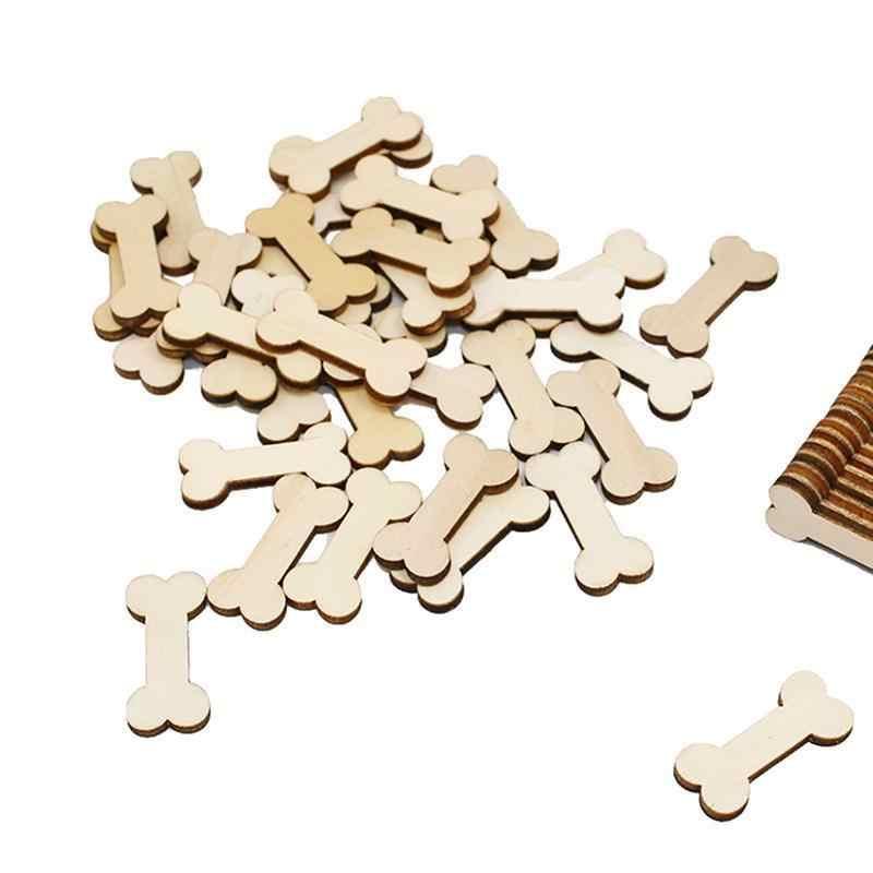 100 шт. Собака Кости вырезы деревянный пустой Ремесла декор для Arts & Crafts проектов украшения свадебные для декорации стола украшения