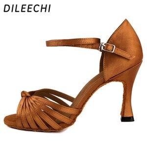 Image 2 - DILEECHI Salsa Womens Latin Dance รองเท้าบอลรูมเต้นรำรองเท้า Bronze 85 มม.ซาตินนุ่ม outsole