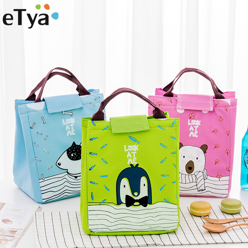 eTya Cartoon Animal Cute Insulated Lunch Bag Thermal Cooler Tote Storage Bag Picnic Food Container Student Storage Bags aequeen thermal lunch bag for kid cute flamingo picnic boxes canvas cartoon animal printing food cooler bags insulated tote