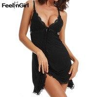 FeelinGirl ночная рубашка большого размера, ночная рубашка, сексуальная ночная рубашка, кружевное лоскутное белье, ночная рубашка, ночная рубашк...