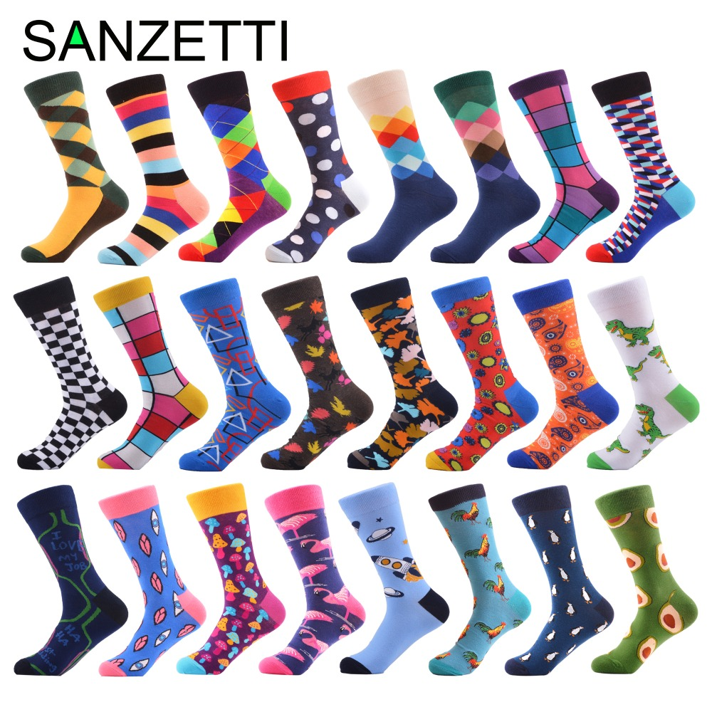 SANZETTI 1 Pair 2019 Newest Colorful Men's Dinosaur Avocado Pattern Combed Cotton   Socks   Novelty Dress Casual Crew Wedding   Socks