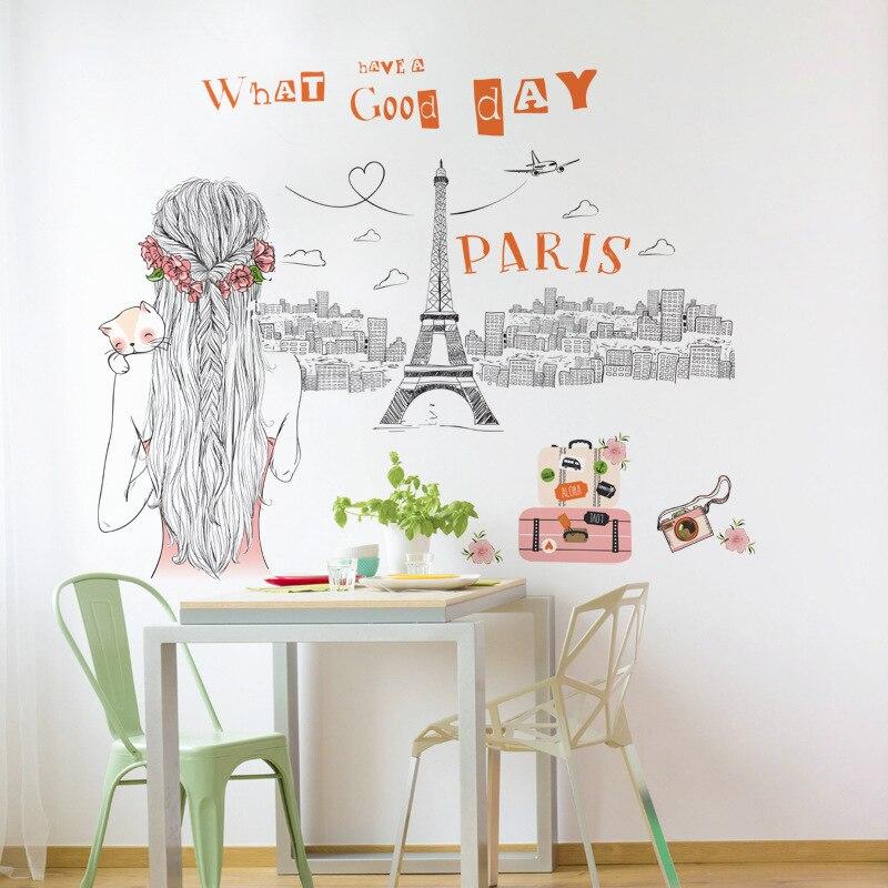 Autocollant Mural Sketch Paris Ville Touriste Fille Et Chat