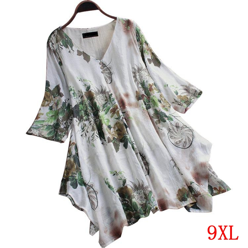 Large size women's shirt cotton and linen plus size <font><b>5XL</b></font> <font><b>6XL</b></font> <font><b>7XL</b></font> <font><b>8XL</b></font> <font><b>9XL</b></font> summer V-neck short-sleeved loose white top image