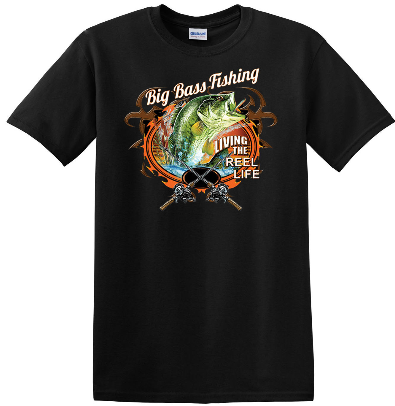BIG BASS FISHINGer FRONT AND BACK BLACK CREW NECK SHORT