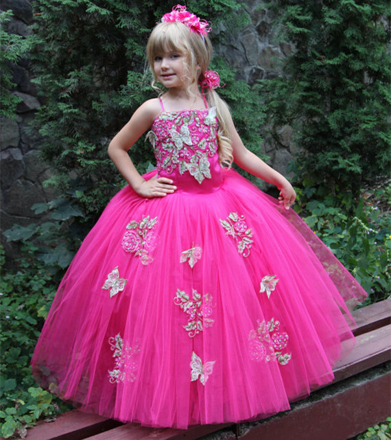 2017 Pink Ball Gown Beading Puffy Tulle Ankle Length Sleeveless Flower Girl Dress for Wedding Girls Pageant Gown Custom Made silver gray purple pink blue ball gown tutu soft tulle puffy flower girl dress baby 1 year birthday dress with spaghetti straps