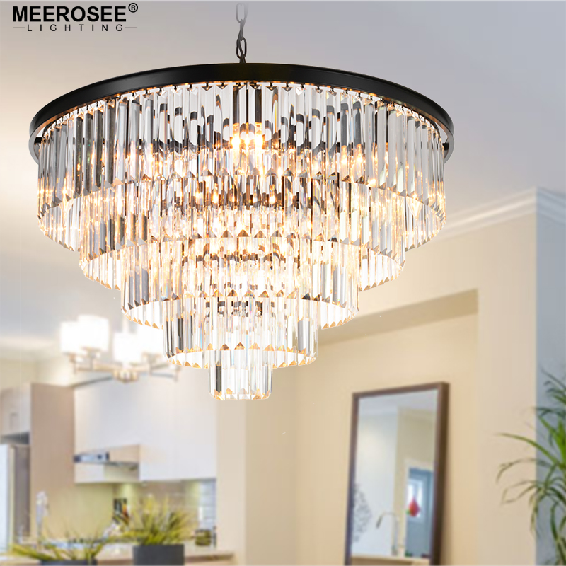 Modern Crystal Chandelier Elegant K9 22mm size Article crystal Smoky Gray Crystal Suspension Lamparas for Cafe