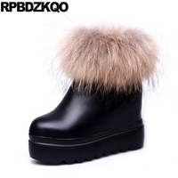 Fall Booties Round Toe Waterproof Winter Boots Women Muffin Height Increasing Fox Fur Black Ladies Flat