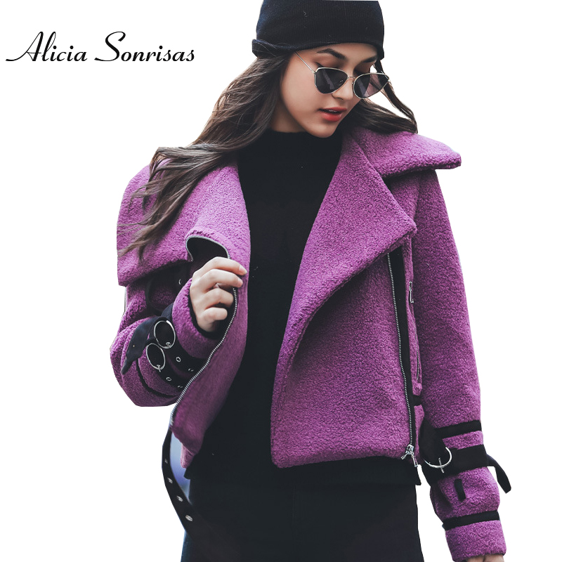Women Winter Sheepskin Thick Coat 2017 New Arrival Womens Lambwool Purple Motorcycle Faux Shearling Big Lapel Coats AS175902