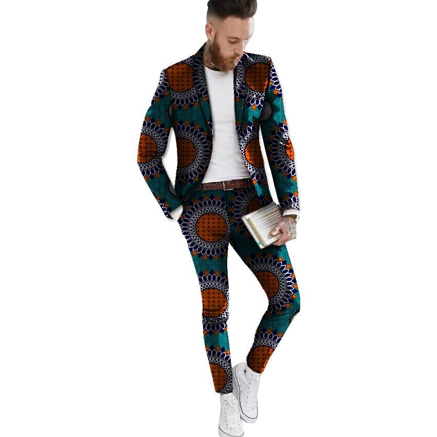 African blazers and trousers set Men's Ankara Suit Jacket fashion wax print dashiki blazer+pant sets African clothing - 5