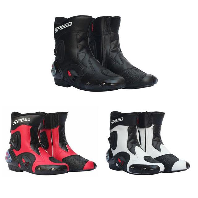 2350c4ad218a9f LumiParty De Moto pour Hommes Chaussures De Course En Cuir Moto Bottes  D'équitation Moto