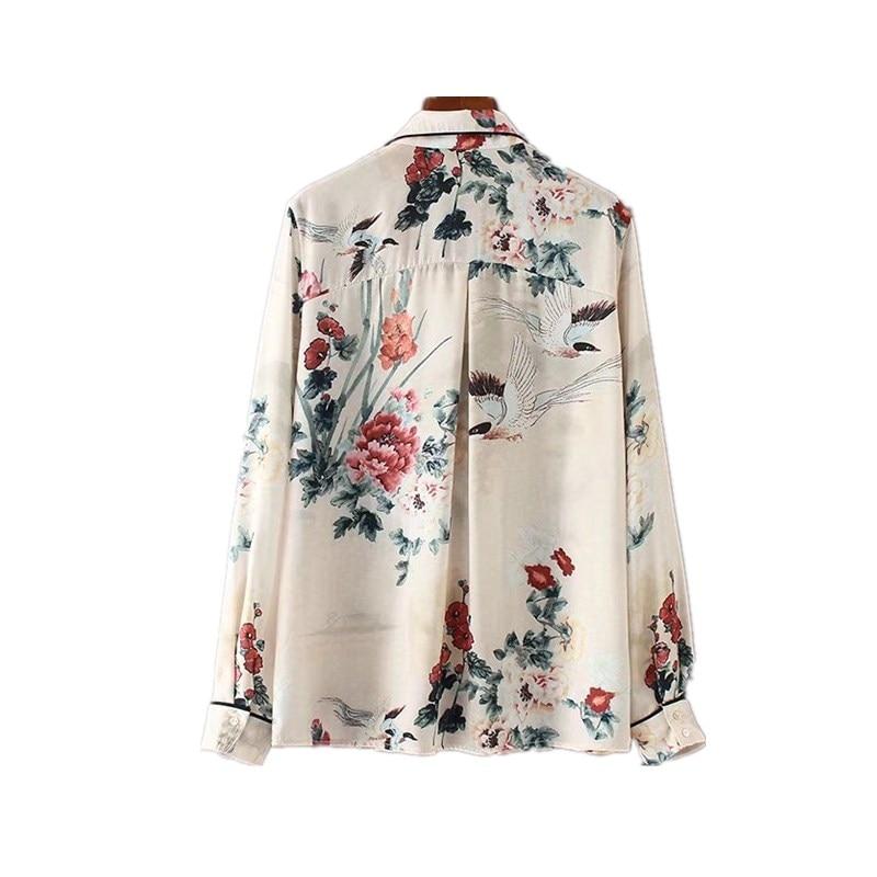 e9fc34d27b Women Satin Blouse Floral Bird Print Pajamas Style Shirt Long Sleeve Turn  down Collar Top Fashion 2017 Autumn Blusa-in Blouses   Shirts from Women s  ...